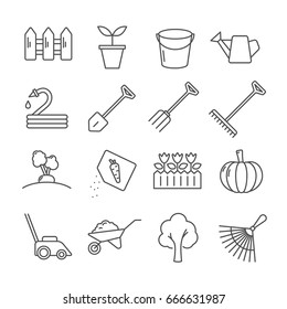 Set of gardening Related Vector Line Icons. Contains such icon as fence, garden, plants, bucket, watering can, shovel, rake, soil, vegetables, seeds, lawnmowers, tree