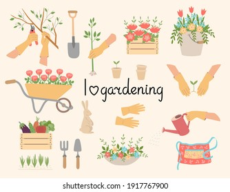 A set of gardening tools, equipment, and clothing. Hands in gloves performing actions. Garden accessories, shovel, bucket, flowerbed, apron, gloves, flowers, vegetables, hare figure.