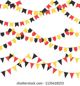Set of garland with celebration flags chain, black, yellow, yellow pennons with no background, footer and banner for celebration