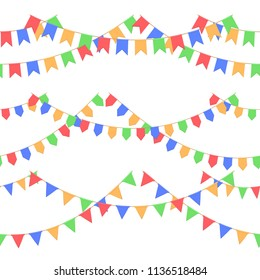 Set of garland with celebration flags chain, red, blue, yellow, green pennons with no background, footer and banner for celebration