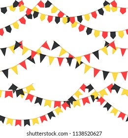 Set of garland with celebration flags chain, black, yellow, red pennons with no background, footer and banner for celebration, eps 10
