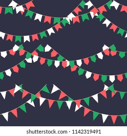 Set of garland with celebration flags chain, green, white, red pennons on dark background, footer and banner for celebration