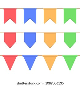 Set of garlands with celebration flags chain, yellow, blue, red, green pennons on white background for decoration