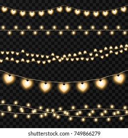 Set of garlands on a vector transparent background. Illustration of garland light illuminated for decoration holiday