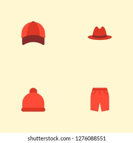 Set of garment icons flat style symbols with baseball cap, beanie, panama and other icons for your web mobile app logo design.