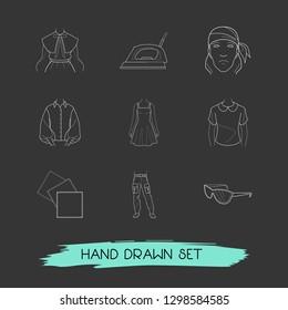 Set of garment icons line style symbols with bandanna, puritan collar, denim icons for your web mobile app logo design.