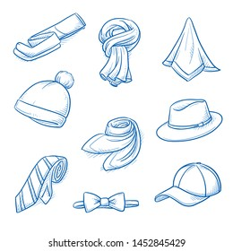 Set of garments and fashion accessories as: hats, caps, scarfs, ties and tights.  Hand drawn blue line art cartoon vector illustration.