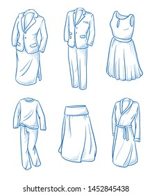 Set of garments and fashion as: suits, attire, dress, pyjama, skirt and dressing gown.  Hand drawn blue line art cartoon vector illustration.