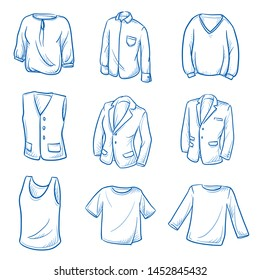 Set of garments and fashion tops as: shirty, blazer, waistcoat and sweater. Hand drawn blue line art cartoon vector illustration.