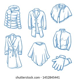 Set of garments and outdoor fashion as: jackets, capes, gloves and coats.   Hand drawn blue line art cartoon vector illustration.