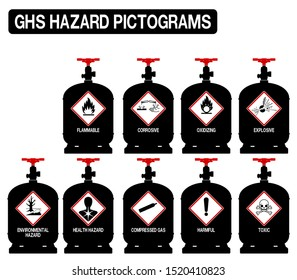 Set of gas cylinder  with GHS pictograms  icon on transparent background