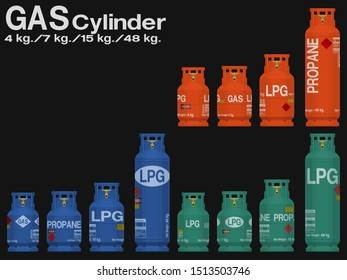 Set of gas cylinder  on transparent background