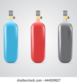 Set of gas cylinders isolated vector illustration