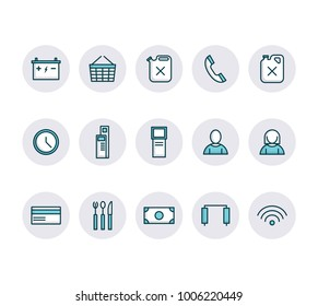 Set of gas station icons, car equipment, restaurant and shop vector.