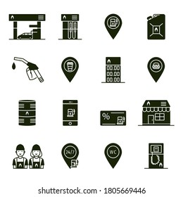 Set of gas station service flat black icons and silhouettes: filling station, petrol pump, map pointer, fuel can and nozzle, oil tank, shop symbol, bonus card, wc pictogram.