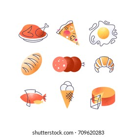 Set of gastronomy food icons, vector cuisine design elements' collection.
