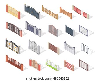 Set of gates and fences vectors. Isometric projection. Collection of metal gates, wrought iron, lattice and wooden gates and fences for yard. Gates and fences isolated on white