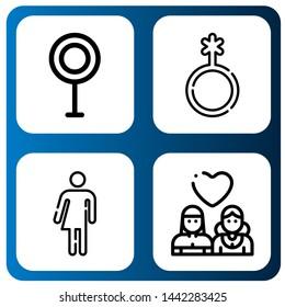 Set of gay icons such as Transvestite, Genderqueer, Bigender, Lesbian , gay