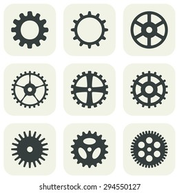 Set of gear icons