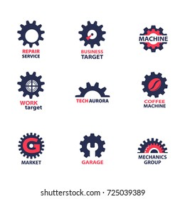 Set of gear wheel icons and logos, isolated on white background. Vector illustration.