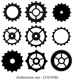 Set of gear wheels collection on white background, vector illustration
