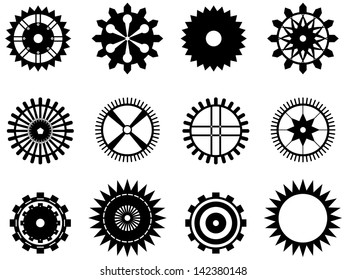 Set of gear wheels illustrated on white background