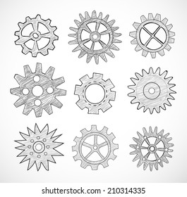 Set of gear wheels sketches isolated on white. Vector illustration.