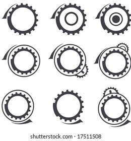 Set of gear wheels vector logos and graphic design elements