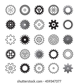 Set of gears icon. Gearwheel icon and industrial element, Vector outline Illustration.