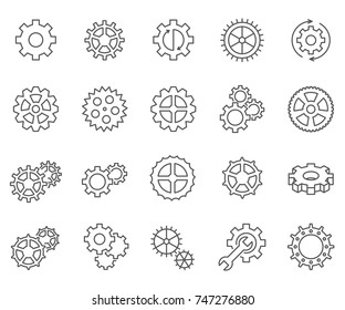 Set of gears Related Vector Line Icons.