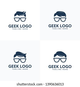 Set of Geek Head Face logo designs vector, Social geek logo template