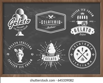 Set of gelato ice cream badges on grungy chalkboard background. Traditional italian dessert. Retro logos for cafeteria or bar.