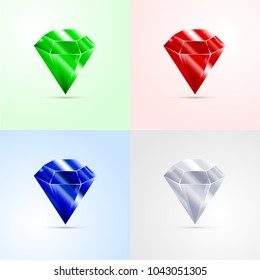 Set of gems, emerald, ruby, sapphire diamond isolated vector illustration
