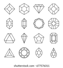 Set of gems Related Vector Line Icons. Includes such icons as diamond, Topaz, ruby, adamant
