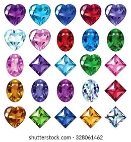 Set of gemstone icons. Bright gems of different shapes.
