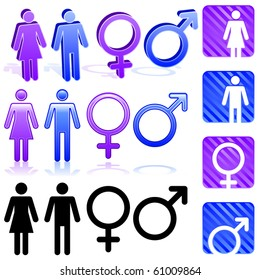 Set of gender icons in three different styles