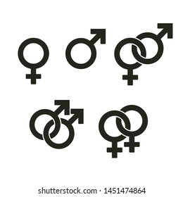 Set of gender symbols and relationship icons isolated on white background. Interlocked female and male signs symbolize straight and gay couples. Vector illustration design.