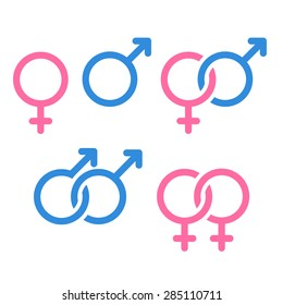 Set of gender symbols and relationship icons isolated on white background.