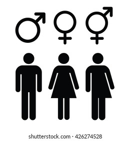 Set of gender symbols.Male, female and unisex or transgender. Vector illustration.
