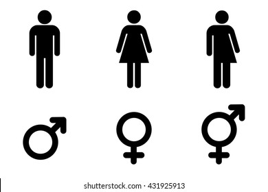 Set of gender symbols.Male, female and unisex or transgender. Vector illustration