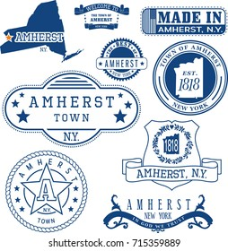 Set of generic stamps and signs of Amherst town, New York state
