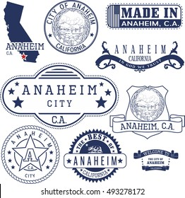 Set of generic stamps and signs of Anaheim city, California