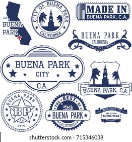Set of generic stamps and signs of Buena Park city, California