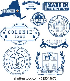 Set of generic stamps and signs of Colonie town, New York state
