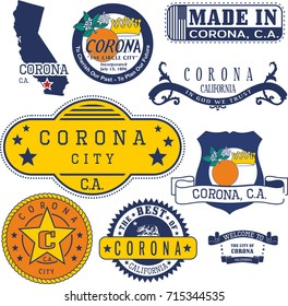 Set of generic stamps and signs of Corona city, California