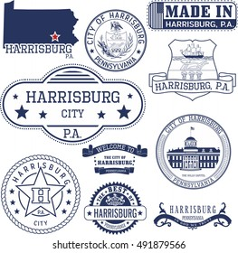 Set of generic stamps and signs of Harrisburg city, Pennsylvania