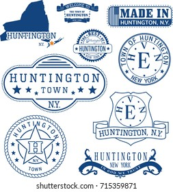 Set of generic stamps and signs of Huntington town, New York state