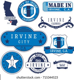Set of generic stamps and signs of Irvine city, California