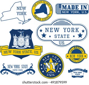 Set of generic stamps and signs of New York State