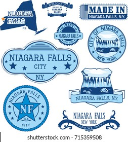 Set of generic stamps and signs of Niagara Falls city, New York state